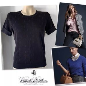 BROOKS BROTHERS BLACK KNIT TOP SZ S